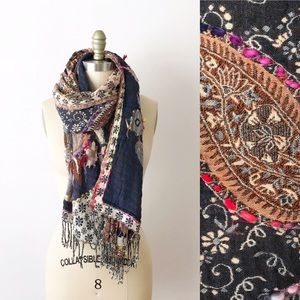 Anthropologie Raj Embroidered Paisley Scarf Shawl